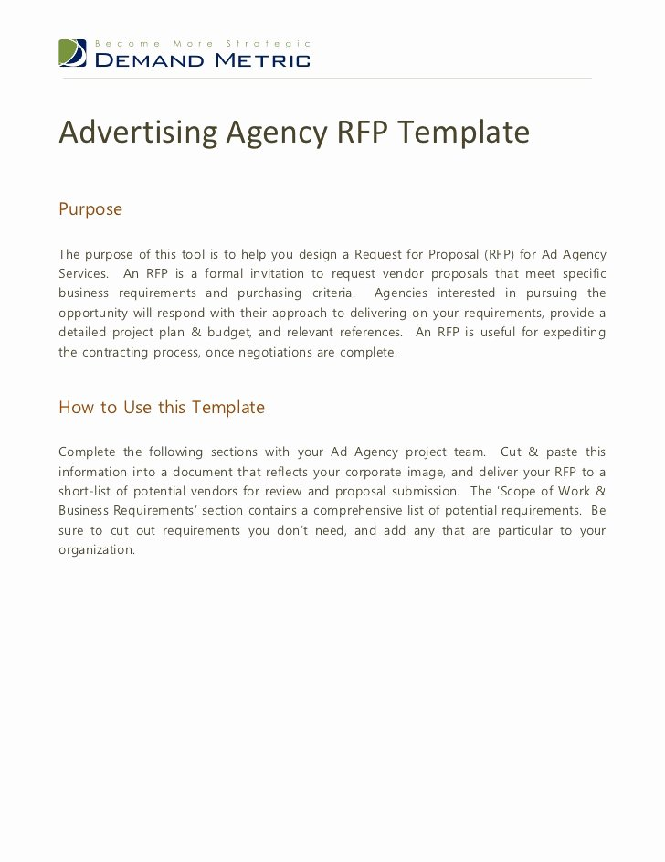 Rfp Response Template Word New Advertising Agency Rfp Template