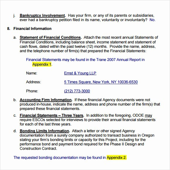Rfp Response Template Word New Sample Rfp Response Template 8 Free Documents In Pdf