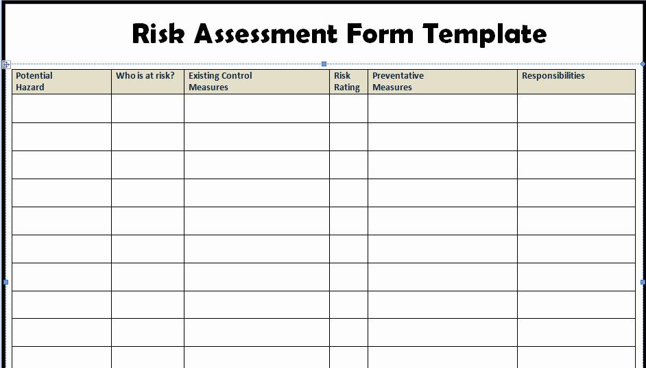 Risk assessment Report Template Elegant Risk assessment form Templates