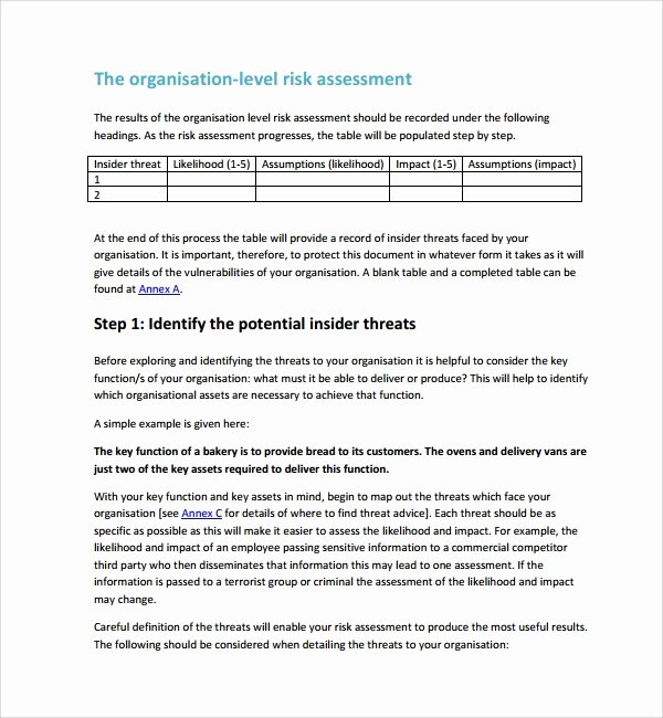 Risk assessment Report Template Fresh Free 12 Sample Security Risk assessment Templates In Pdf