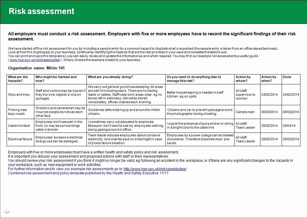 Risk assessment Report Template Fresh Health and Safety Implications Risk assessment Report