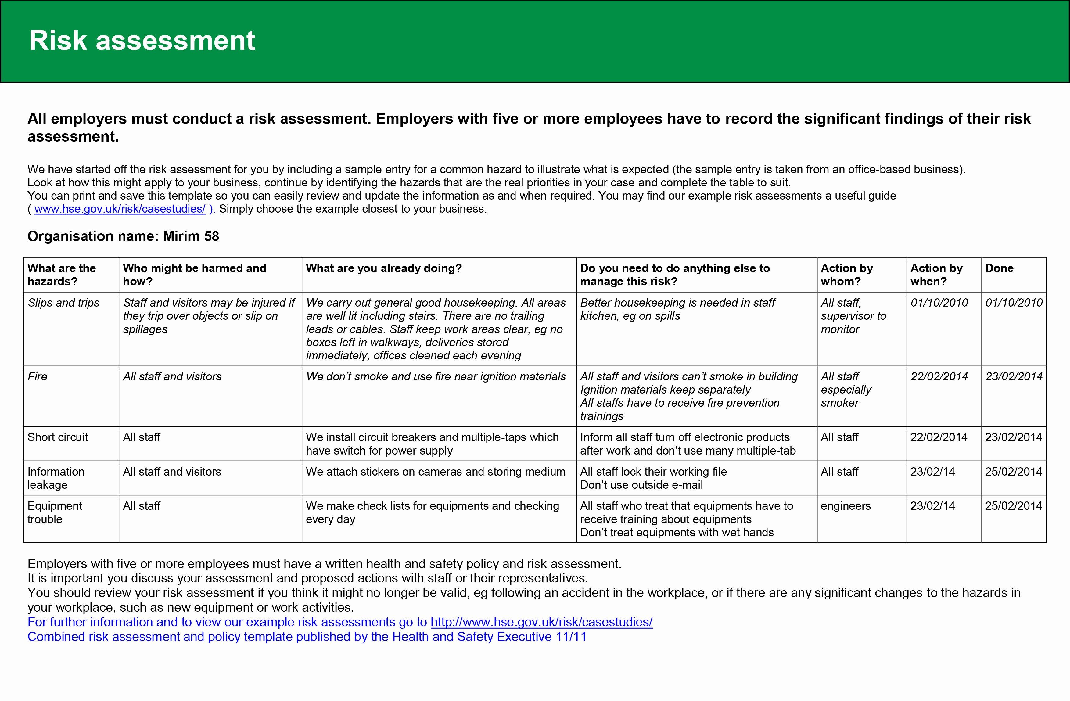 Risk assessment Report Template Lovely Task2 – 2014mirimstudent58