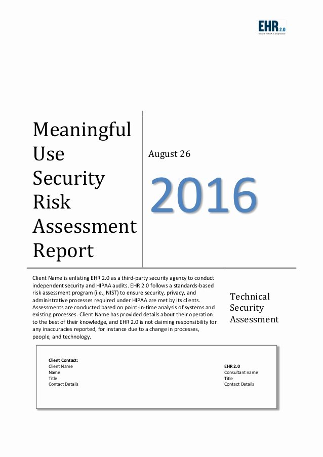 Risk assessment Report Template New Meaningful Use Risk assessment Template