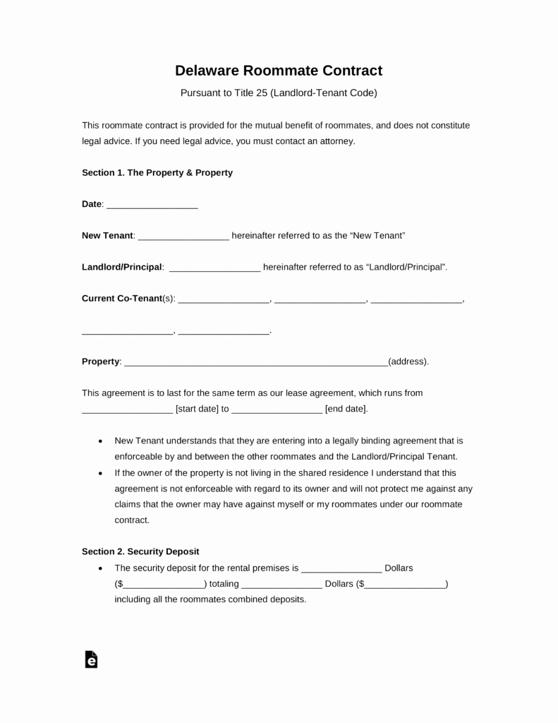 Roommate Rental Agreement Template Awesome Free Delaware Roommate Room Rental Agreement Template