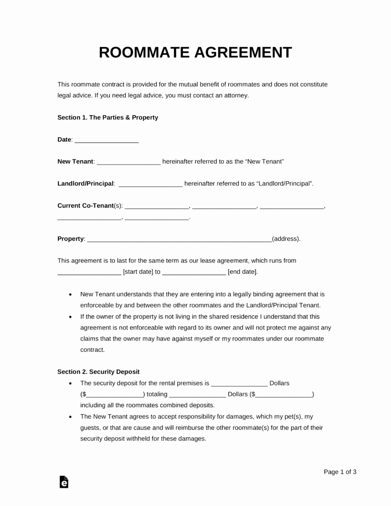 Roommate Rental Agreement Template Best Of Free Roommate Room Rental Agreement Template Pdf