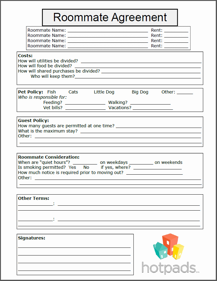 Roommate Rental Agreement Template Best Of Roommate Agreement