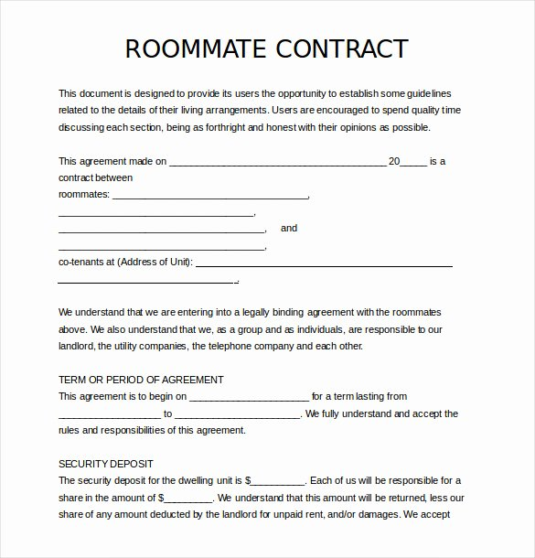Roommate Rental Agreement Template Fresh 17 Roommate Agreement Templates – Free Word Pdf format