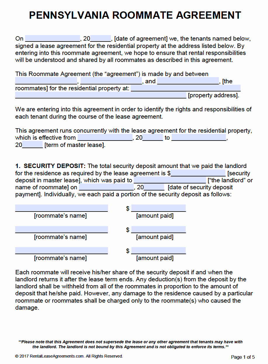 Roommate Rental Agreement Template Lovely Free Pennsylvania Roommate Agreement Template – Pdf – Word