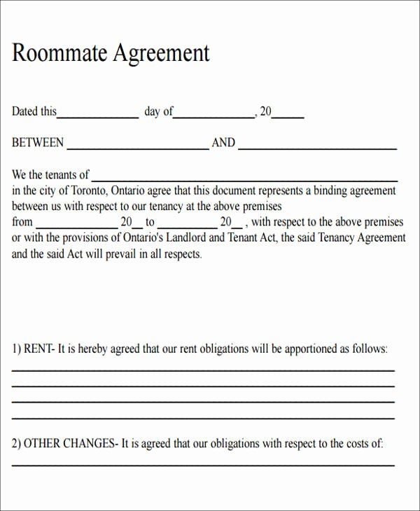 Roommate Rental Agreement Template Luxury 7 Sample Roommate Rental Agreement form Examples In