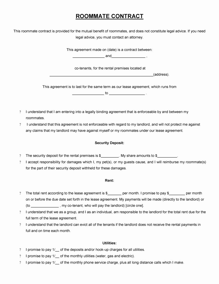 Roommate Rental Agreement Template Unique 40 Free Roommate Agreement Templates & forms Word Pdf