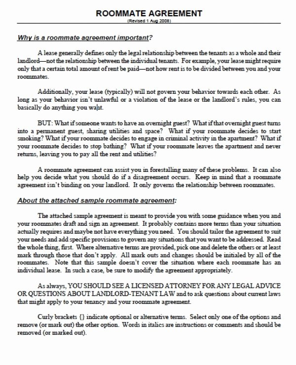 Roommate Rental Agreement Template Unique Roommate Agreement form