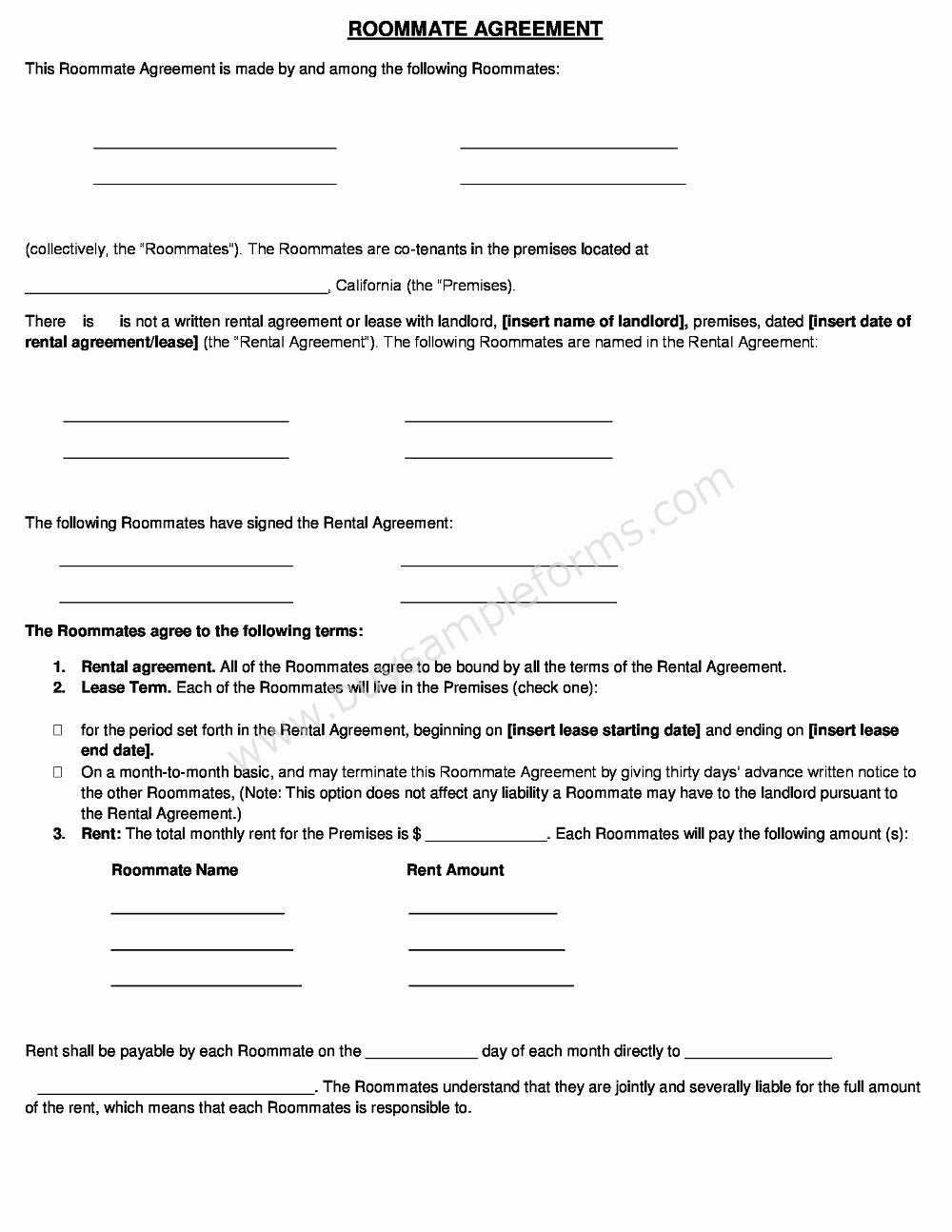 Roommate Rental Agreement Template Unique Roommate Rental Agreement form Template Word Doc Sample