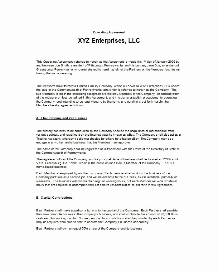 S Corp Operating Agreement Template New 30 Free Professional Llc Operating Agreement Templates