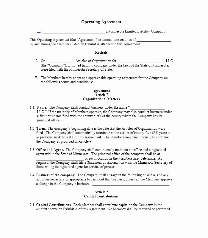 S Corporation Operating Agreement Template Beautiful 30 Professional Llc Operating Agreement Templates