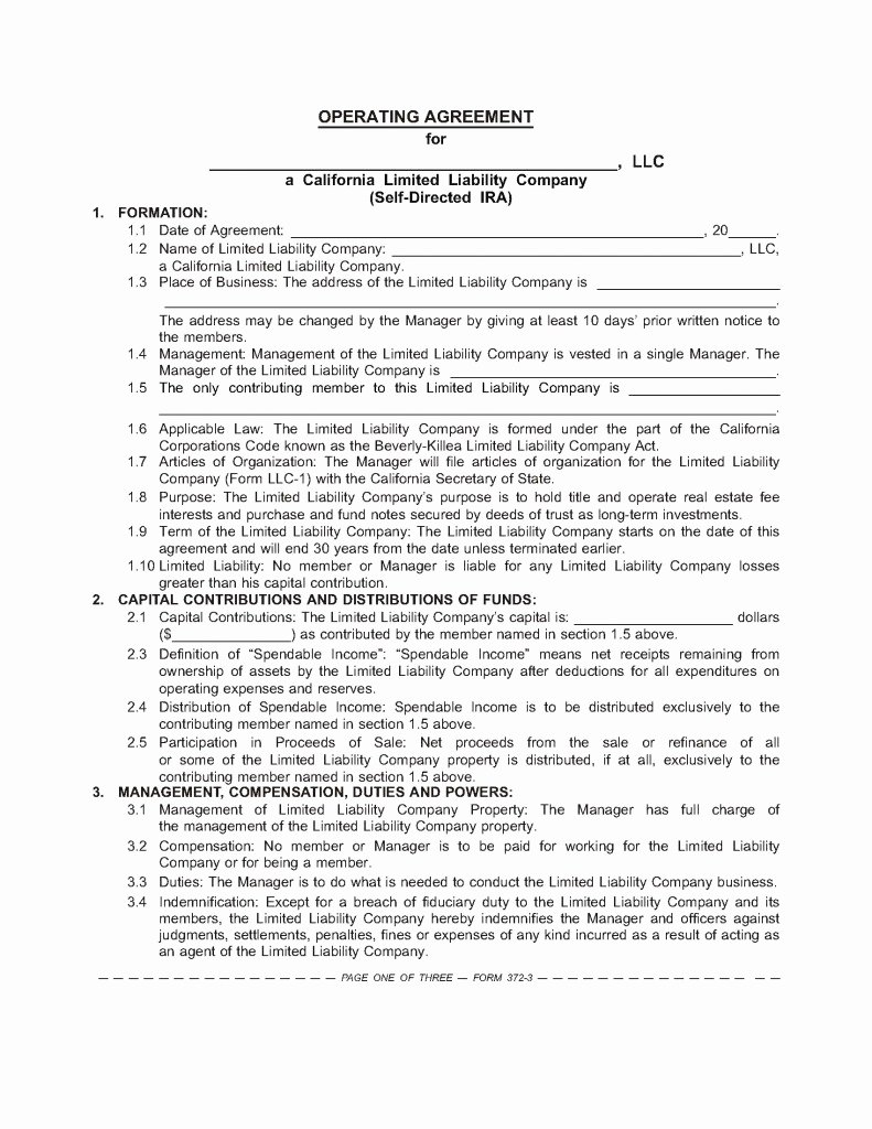 S Corporation Operating Agreement Template Best Of the Sdira Llc Operating Agreement – Boilerplate for Your