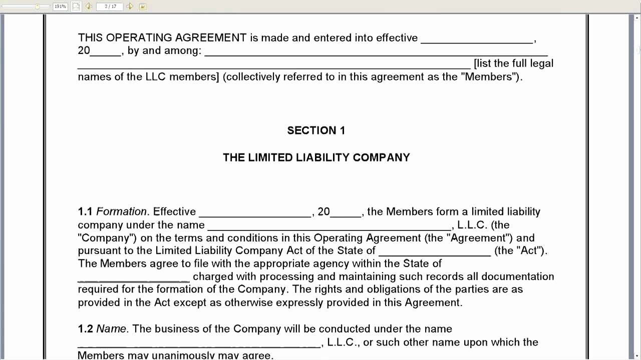 S Corporation Operating Agreement Template Fresh Example Llc Operating Agreement Free Printable Documents