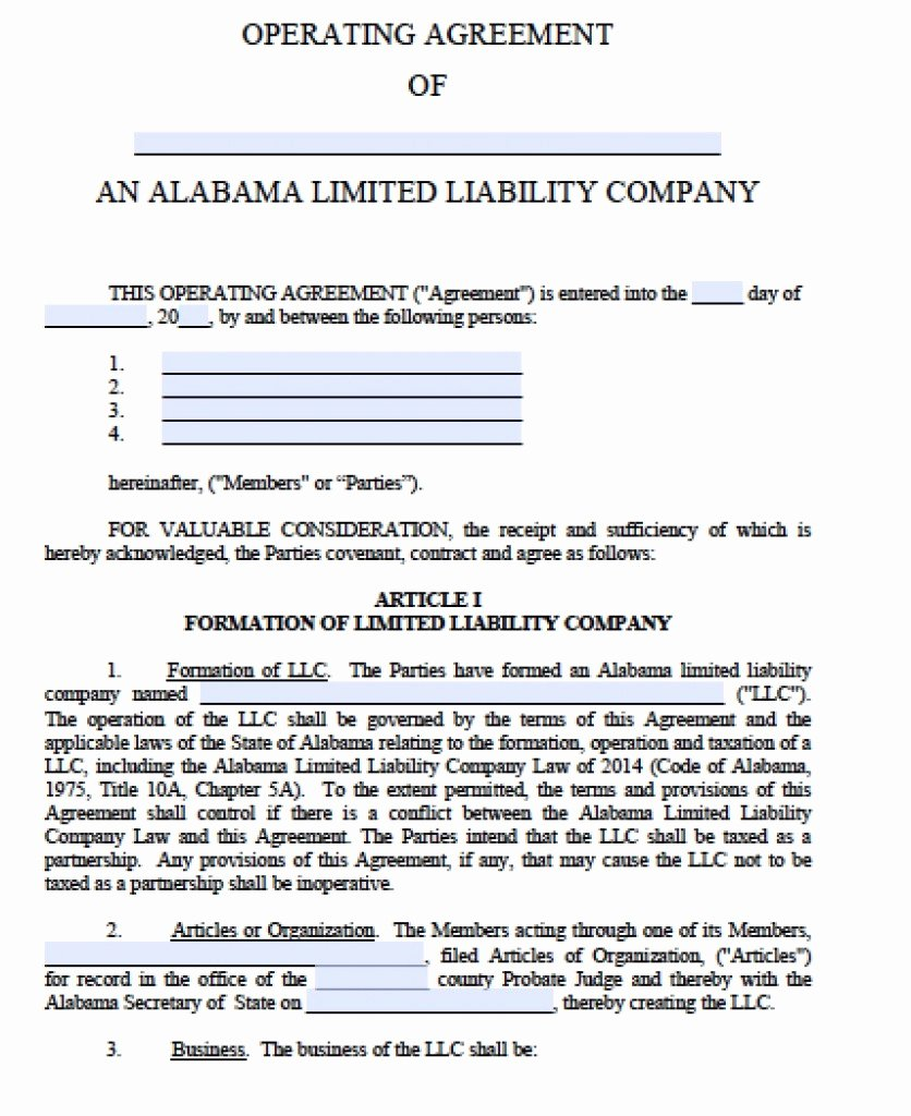 S Corporation Operating Agreement Template Fresh Free Alabama Llc Operating Agreement Template Pdf