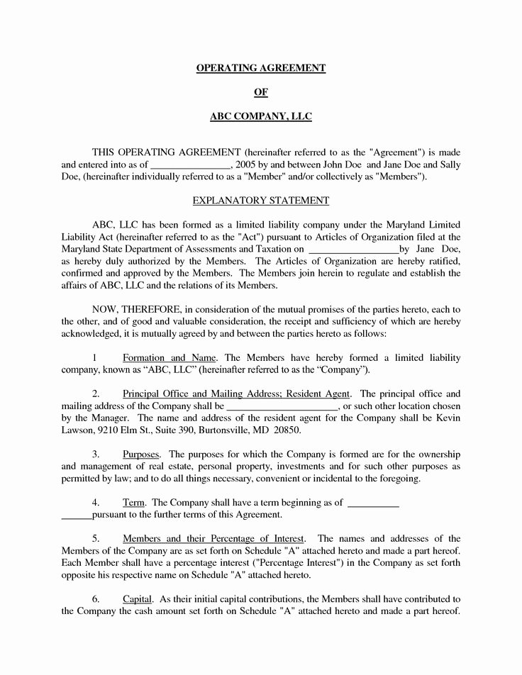 S Corporation Operating Agreement Template New Basic Llc Operating Agreement by Jmcinerny Llc