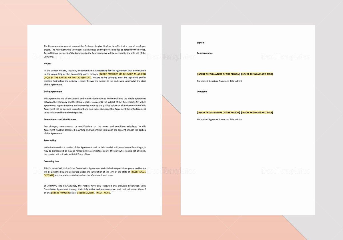 Sales Commission Plan Template Unique Exclusive solicitation Sales Mission Agreement Template