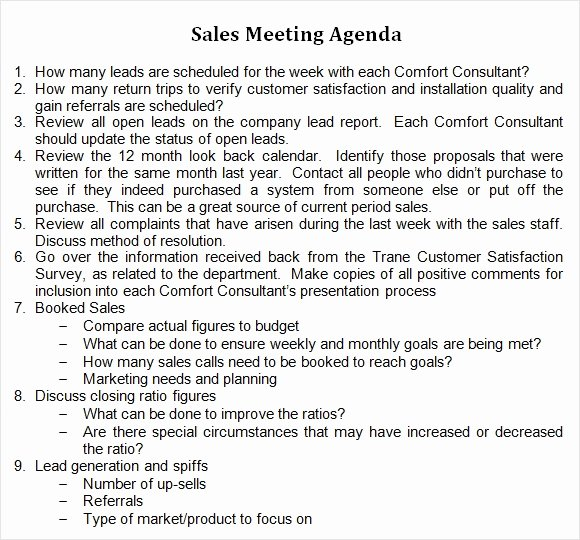 Sales Meeting Agenda Template Awesome Sales Meeting Template Word – Kanza