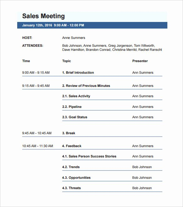 Sales Meeting Agenda Template Beautiful 50 Meeting Agenda Templates Pdf Doc