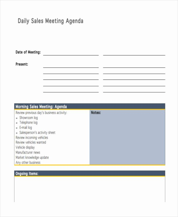 Sales Meeting Agenda Template Beautiful Free 12 Sales Agenda Templates In Pdf