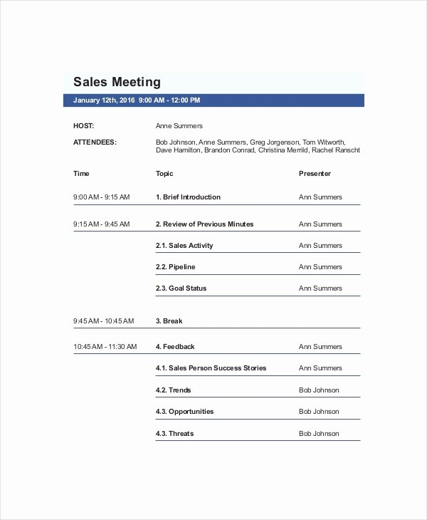Sales Meeting Agenda Template Beautiful Sales Meeting Agenda Template – 11 Free Word Pdf