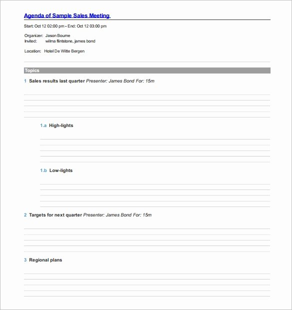Sales Meeting Agenda Template Elegant Agenda Template – 24 Free Word Excel Pdf Documents