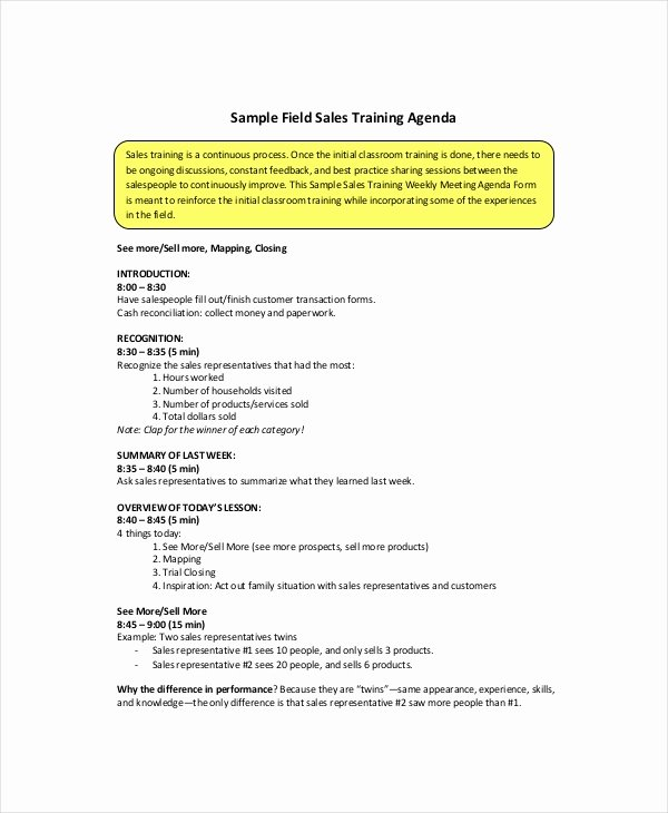 Sales Meeting Agenda Template Elegant Sales Meeting Agenda Template – 11 Free Word Pdf