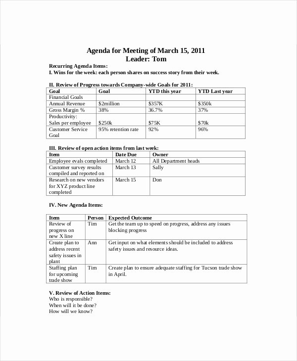 Sales Meeting Agenda Template Fresh Sales Meeting Agenda Template – 11 Free Word Pdf