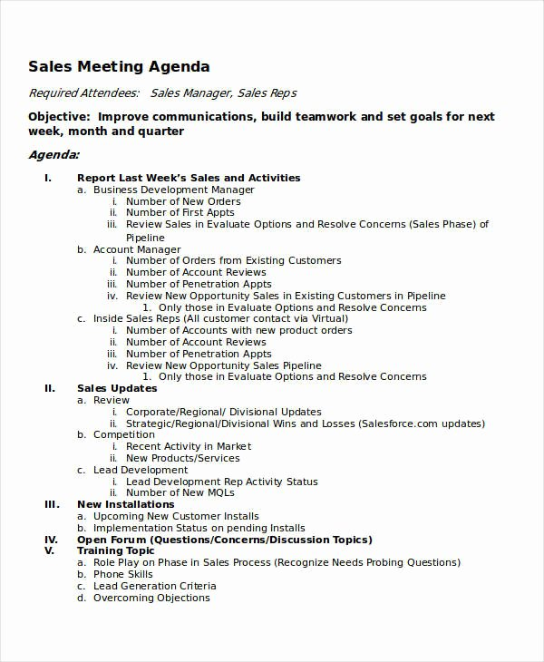 Sales Meeting Agenda Template Inspirational 10 Meeting Agenda Samples Free Sample Example format