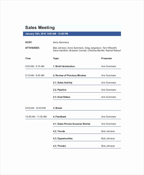Sales Meeting Agenda Template Inspirational Free 12 Sales Agenda Templates In Pdf