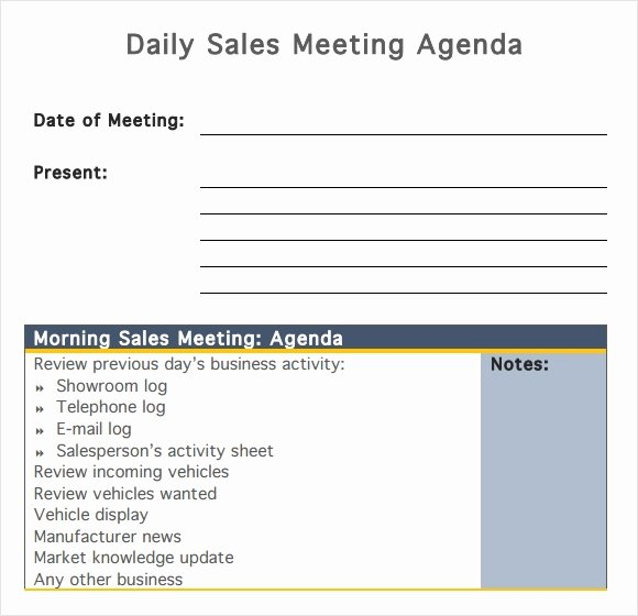 Sales Meeting Agenda Template Luxury Free 7 Sales Meeting Agenda Templates In Pdf