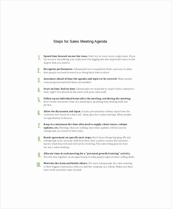 Sales Meeting Agenda Template Luxury Sales Meeting Agenda Template – 11 Free Word Pdf