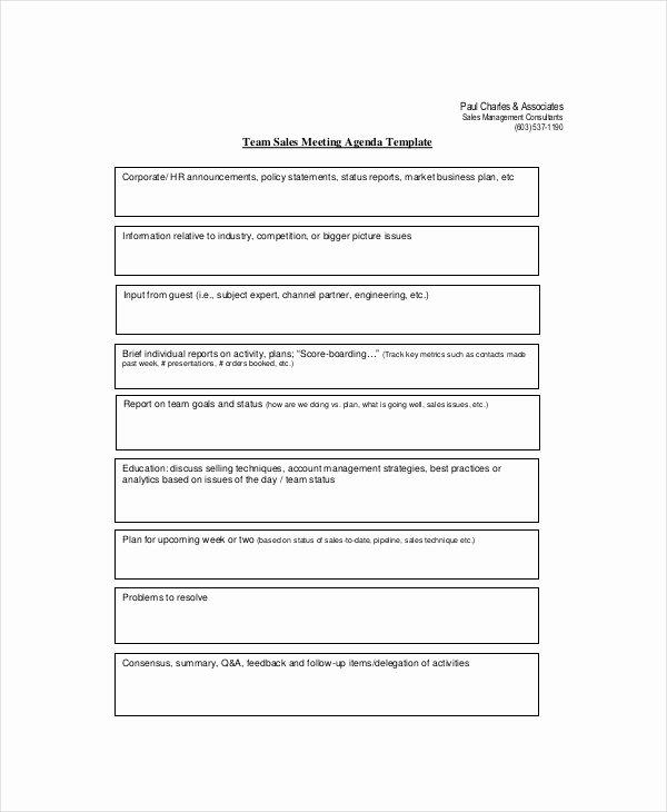 Sales Meeting Agenda Template New Sales Meeting Agenda Template – 11 Free Word Pdf