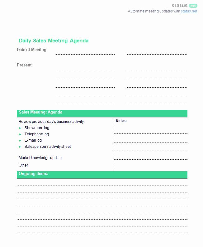 Sales Meeting Agenda Template Unique Conducting A Productive Sales Meeting [2 Agenda Templates