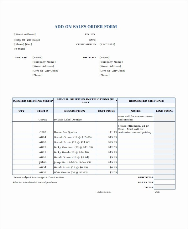 Sales order form Template Inspirational Excel order form Template 19 Free Excel Documents