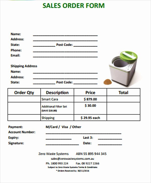 Sales order form Template New Sample Sales order form 11 Examples In Word Pdf