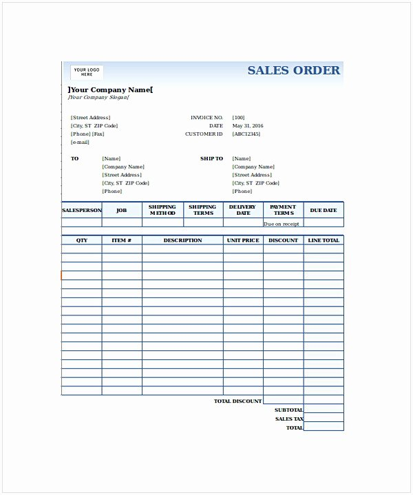 Sales order form Templates Awesome order form Template Word