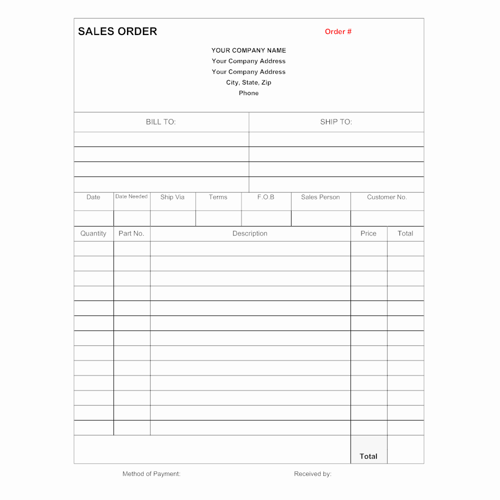 Sales order form Templates Luxury Sales order form