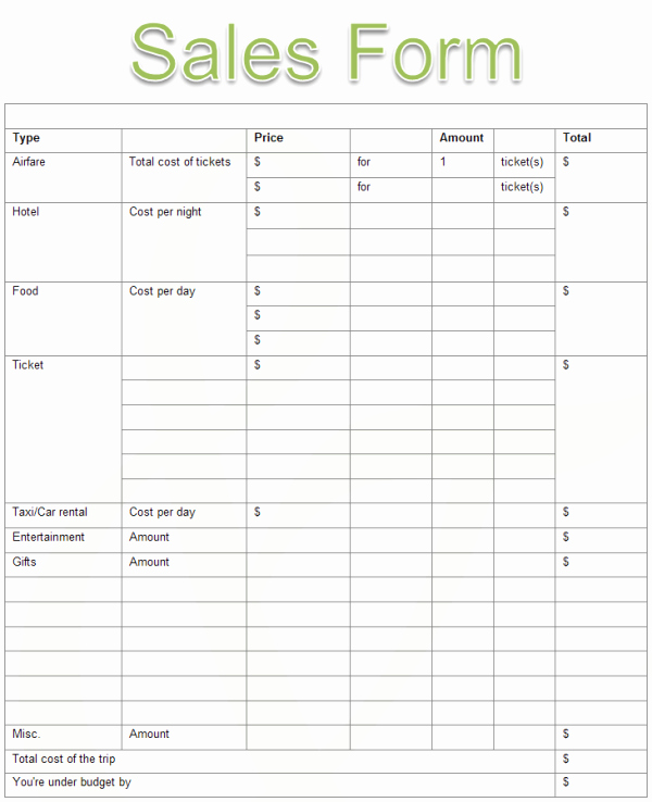 Sales order forms Templates Elegant Sales form Examples and Templates
