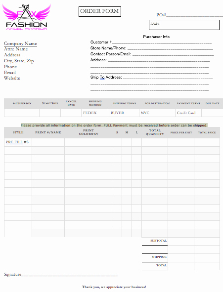 Sales order forms Templates Elegant Sales order & Terms form Template Fashion Angel Warrior