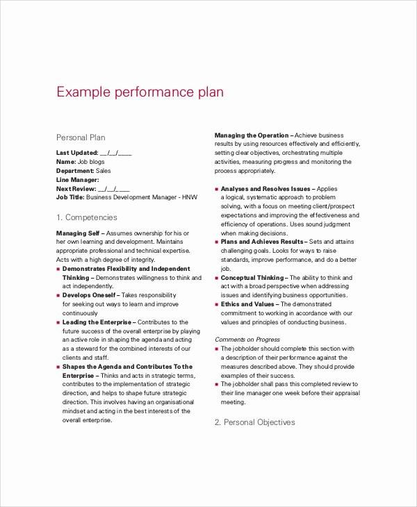 Sales Performance Improvement Plan Template Best Of 12 Performance Plan Templates Pdf Word format Download