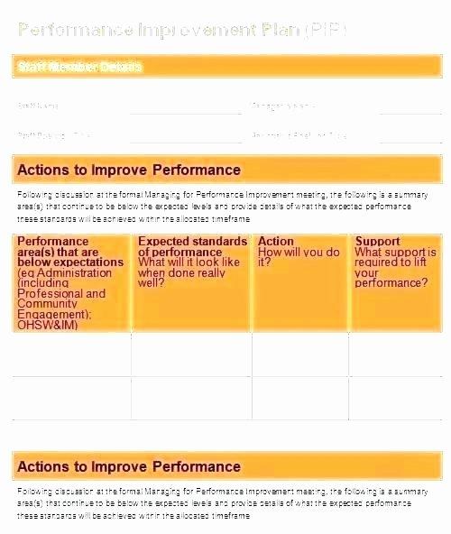 Sales Performance Improvement Plan Template Elegant Performance Improvement Plan Example Template