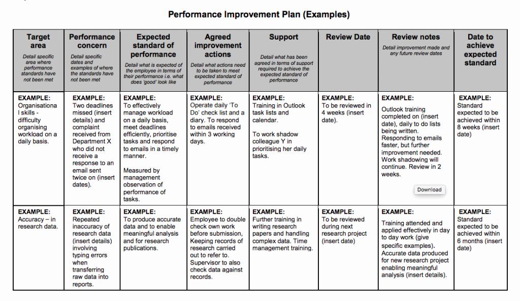Sales Performance Improvement Plan Template Fresh Examples Performance Improvement Plans for Employees
