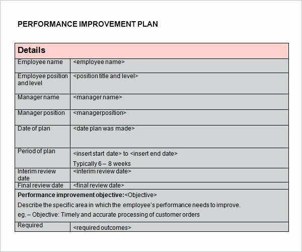 Sales Performance Improvement Plan Template Lovely Example Of Performance Improvement Plan – Examples