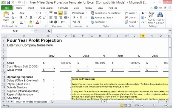 Sales Planning Template Excel Beautiful Free 4 Year Sales Projection Template for Excel