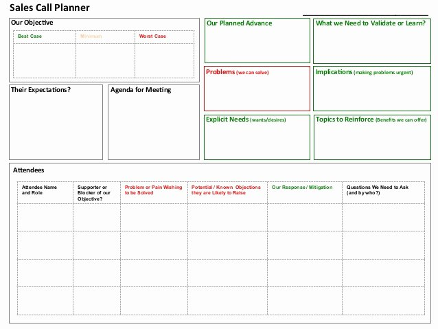 Sales Planning Template Excel Luxury Sales Call Planner tool