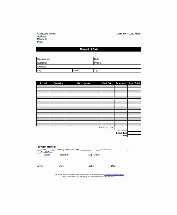 Sales Receipt Template Pdf Inspirational Sample Sales Receipt form 6 Examples In Word Pdf