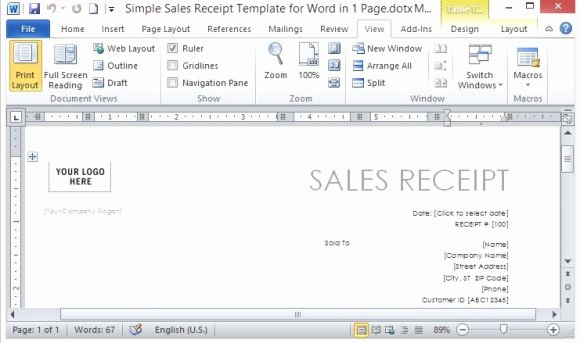 Sales Receipt Template Word Awesome Simple Sales Receipt Template for Word In E Page